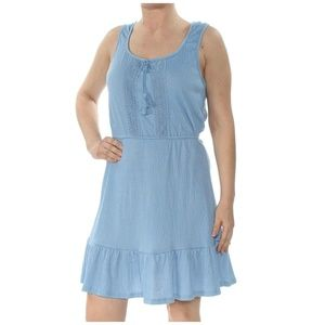 Be Bop  Peasant Dress Juniors Ruffled-Hem Chambray